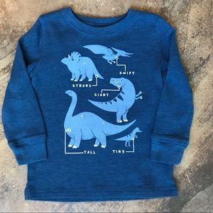 Toddler boy blue dinosaurs thermal shirt